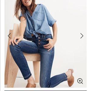 "Madewell 10"" high-rise skinny jeans raw hem 27"